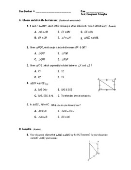 Geometry Test (2 Versions) - Congruent Triangles (no proofs)/Isosceles Triangles