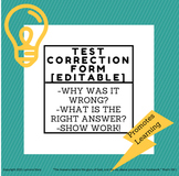 Test Correction Form Worksheet (editable)