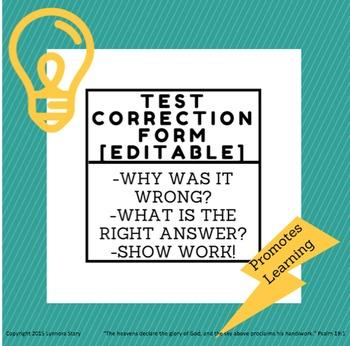 Test Correction Form Worksheet (editable)