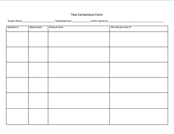 Test Correction Form Worksheet (editable) by Lynnora Stary | TpT