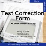 Test Correction Form for Math Error Analysis