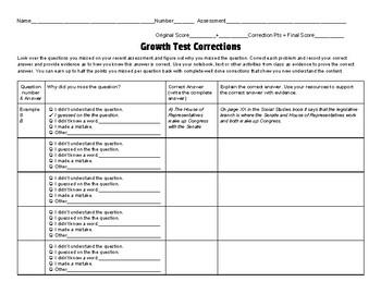 Test Correction Growth Mindset Form