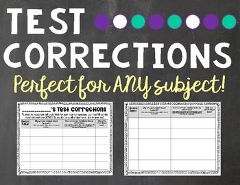Test Correction Sheet