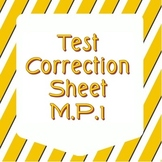 Test Correction Sheet - Common Core Math - MP1