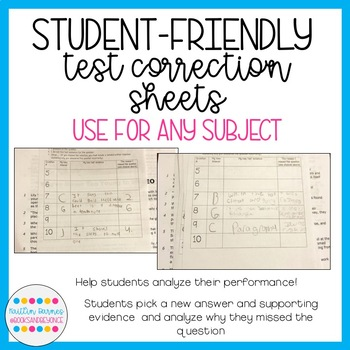 Test Correction Sheets: Help Students Correct and Analyze Their Mistakes!