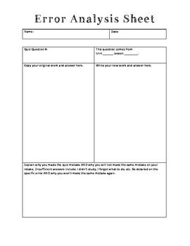 Test Corrections/Error Analysis Sheet