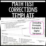 Math Test Corrections Template - Digital & Printable