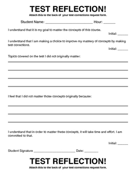 Test Corrections Form Handouts and Procedures for Mastery of Learning