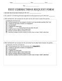 Test Corrections Form Handouts and Procedures for Mastery