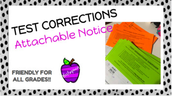 Test Corrections Notice