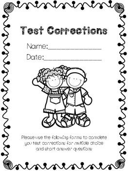 Test Corrections Printable