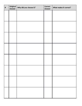 Test Corrections Template - FREEBIE