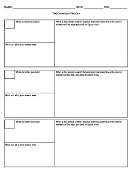 Test corrections template by ms agius teachers pay teachers for Test templates for teachers