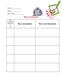 Test Corrections Template (Blank) with visuals. Great for
