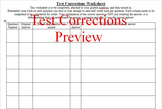 Test Corrections Template Worksheet