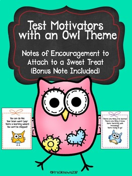 Test Encouragement Notes - Candy Notes with an Owl Theme