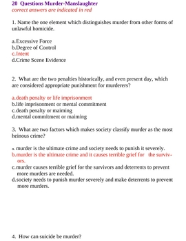 Test Exam Law - Criminal Justice - 62 Questions Multiple Choice