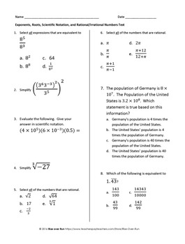 Test: Exponents, Roots, Scientific Notation, Rational vs. Irrational