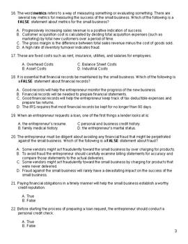 Test: Financial Analysis for Entrepreneurship