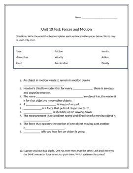 Test- Forces and Motion