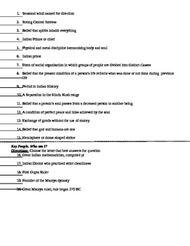 Test: Indus River Valley (Ancient India): mult choice, matching, essay w/ key
