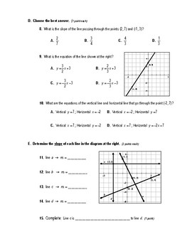 Geometry Test (2 Versions) - Int/Ext Angles of a Triangle / Equations of Lines