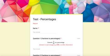 Test & Marking - Percentages (Google Forms)