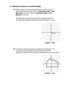 Geometry Test (2 Versions) - Midpoint, Distance, Basic Area & Perimeter
