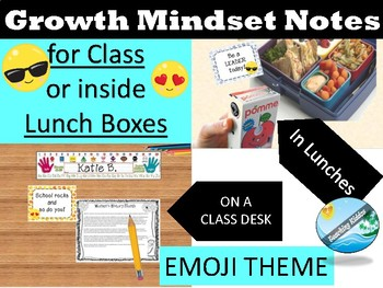 Test Motivational  and lunch notes -GROWTH MINDSET (EMOJI THEME)