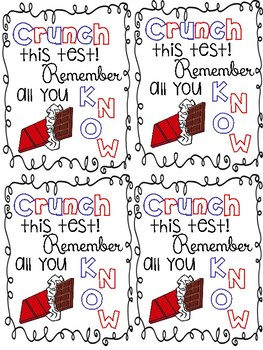 photograph relating to Encouraging Notes for Students During Testing Printable identify Crunch Bar Worksheets Coaching Elements Instructors Pay out