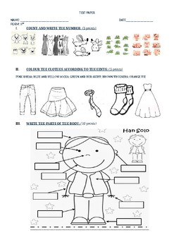 Test Numbers, Clothes, Colors, Body parts Primary