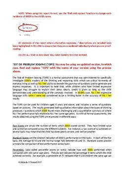 Report Writing Framework - Test Of Problem-Solving (TOPS)