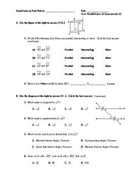 Geometry Test (2 Versions) - Parallel Lines & Transversals