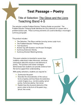 Test Passage & Activities - Poetry: The Glove and the Lions