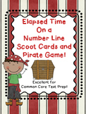 Elapsed Time on a Number Line Task Cards TWO Sets + Pirate Game Test Prep
