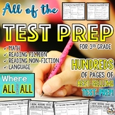 Math and ELA Test Prep for 3rd Grade BUNDLE
