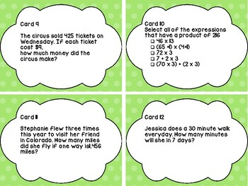 Task Cards 4.NBT.5 Multiplying Numbers