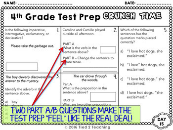 Test Prep Math and ELA - 4th Grade Bundle