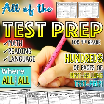 Test Prep Math and ELA - 4th Grade Bundle