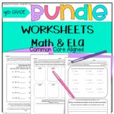 4th Grade Morning Worksheets BUNDLE Math & ELA