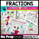 Test Prep: 4th Grade No Prep Games for all Common Core Fraction Standards