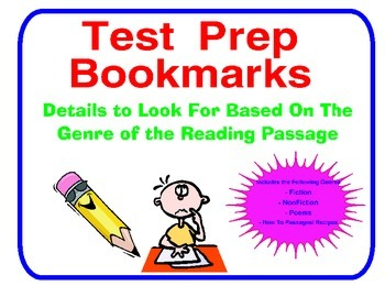 Test Prep Bookmark- Details to Look for in Specific Genres