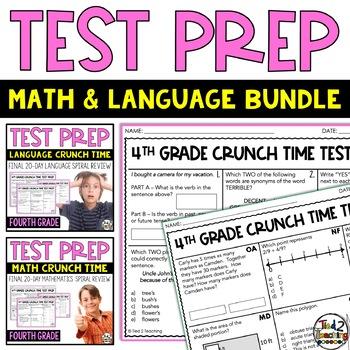 Math and Language Test Prep Bundle for 4th grade