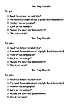 Test Prep Checklist