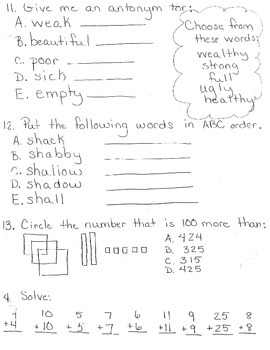 Test Prep Daily Work Math/LA 3rd Grade
