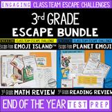 Test Prep Escape Room for 3rd Grade Bundle: Reading & Math Escape Challenges