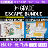 Test Prep Escape Room for 3rd Grade Bundle: Reading & Math Challenges