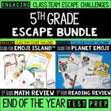 Test Prep Escape Room for 5th Grade Bundle: Reading & Math Escape Challenges