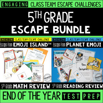 End of Year Escape Room for 5th Grade Bundle: Reading & Math Challenges