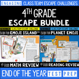 Test Prep Escape Room for 4th Grade Bundle: Reading & Math Escape Challenges